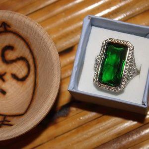 CHERRY_JEWELRY EMERALD FILIGREE SS 925 RING(6)